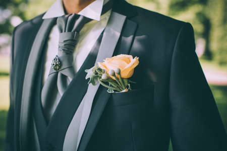 plastron: Boutonniere with an orange rose on a grooms suit with a plastron Stock Photo