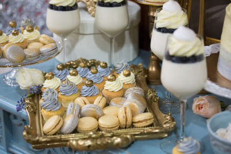 dessert buffet: dessert buffet muffins, cookies, macaroon