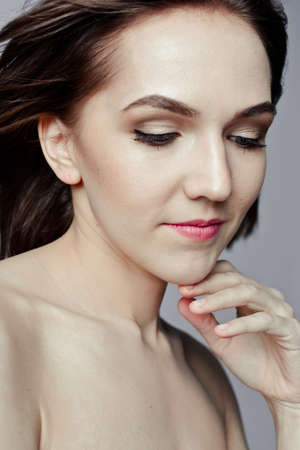 snazzy: Beauty portrait of a pretty girl with makeup matte shadows on the eyes and pink lips