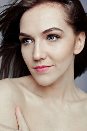 swanky: Beauty portrait of a pretty girl with makeup matte shadows on the eyes and pink lips
