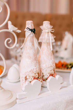 table set for wedding or another catered event dinner Stock Photo