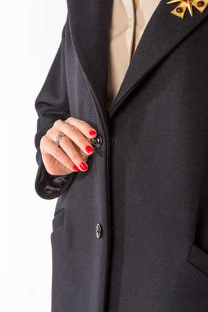 The item of clothing. Detail of coat patterns on a white background Stock Photo