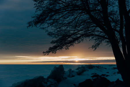 winter landscape - sunset in the snow field