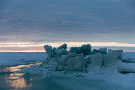 fissure: winter landscape - sunset in the snow field