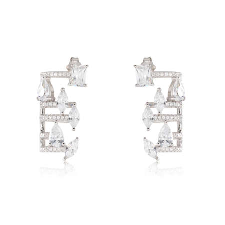 Pair of jewelry earrings isolated on the white 스톡 콘텐츠