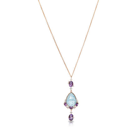 Golden pendant with diamonds, amethysts and mother of pearl isolated on white background