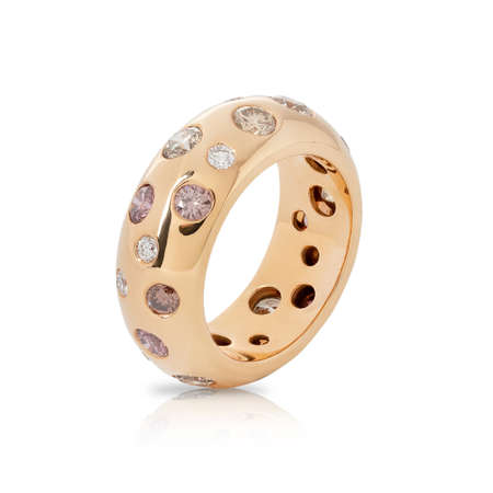 Rose gold ring with white and colored diamonds isolated on white background