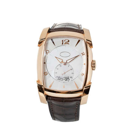 Luxury Rose Gold Watch Isolated on White. Classic Watch with Annual Calendar & Smooth Bezel. Front View Automatic Movement Wristwatch with black Leather Strap