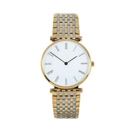 Luxury classic watch with a white dial and Roman numerals and a steel strap, front view isolated on white background