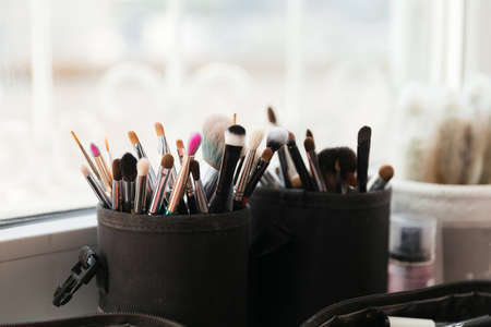 Bunch Of Professional Makeup Brushes Stockfoto