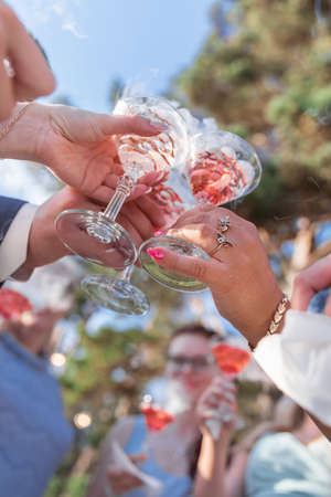 Cropped photo of many people hanging out clink glasses with champagne Stockfoto