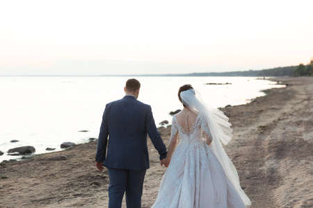 Newly married couple walking away together on the beach 版權商用圖片