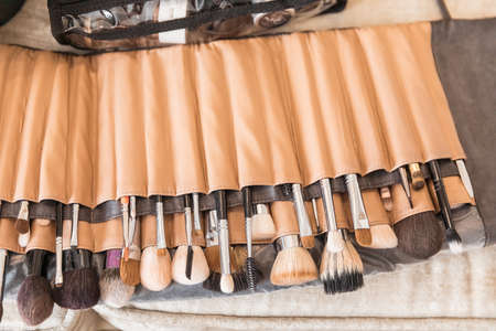 Set of makeup artist's brushes in a case Stockfoto