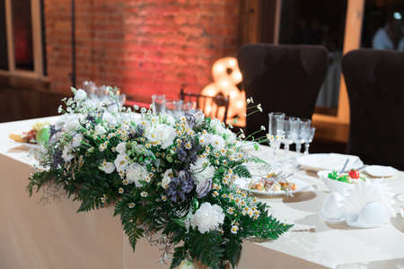 Fancy wedding reception area ready for guests and the party Stockfoto