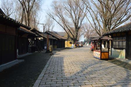 song dynasty: Buildings and street in the Shuihu City, Jiangsu, Wuxi