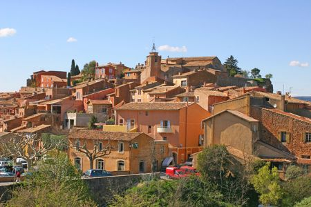 red village of Roussillon Stock Photo