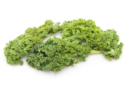 green cabbage on white Background