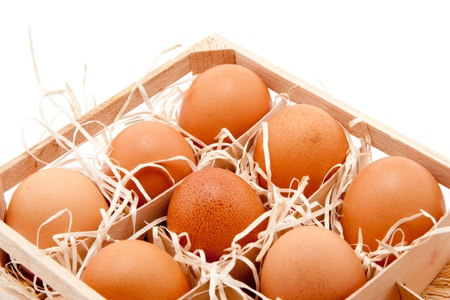egg box: brown organic eggs in a box on straw Stock Photo