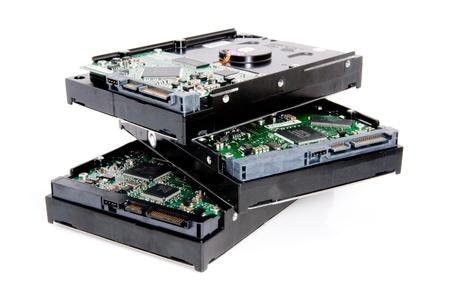 disco duro: pila de discos duros de ordenador Foto de archivo