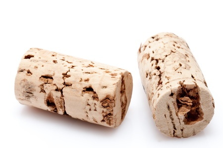cork of a wine bottle on white background