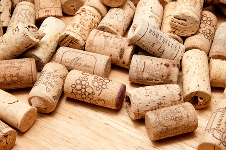 pile of cork on wooden background
