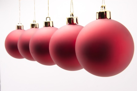 red christmas balls on white background Stock Photo