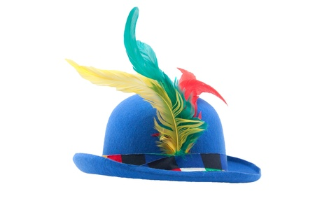 blue jolly circus carnival bowler with colorful feathers isolated on white background Stock Photo