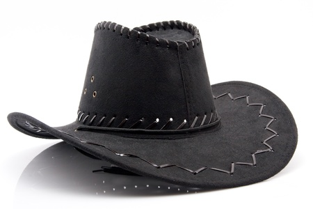 fun carnival costume black leather hat isolated on white background