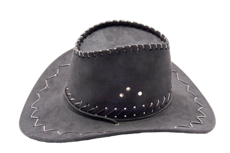 fun carnival costume black leather hat isolated on white background photo
