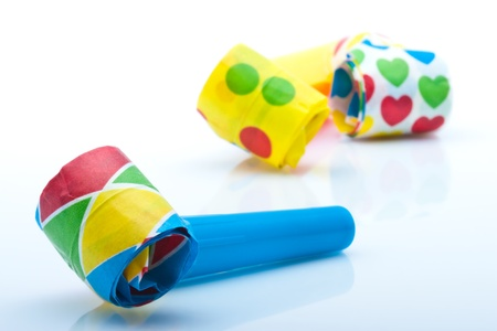 noisemaker: colorfull noisemakers for a party isolated on white background