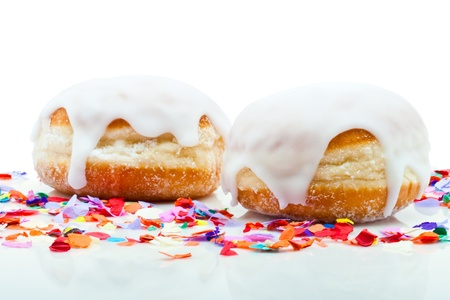 donuts for a party isolated on white background with confetti