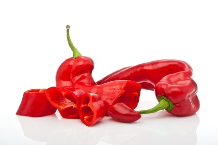 closeup of chopped red hot pepper isolated on white background