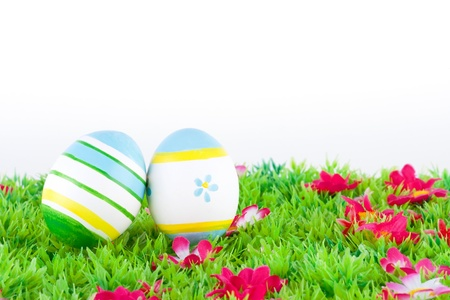 colorful painted easter eggs located on a green meadow with flowers Stock Photo - 17094385