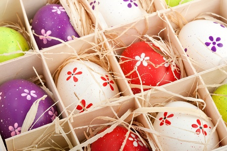 closeup of assorted colorful painted easter eggs in a wodden box Stock Photo - 17164520