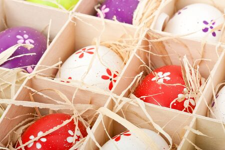 closeup of assorted colorful painted easter eggs in a wodden box Stock Photo - 17164516