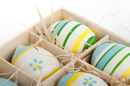closeup of assorted colorful painted easter eggs in a wodden box Stock Photo - 17164507