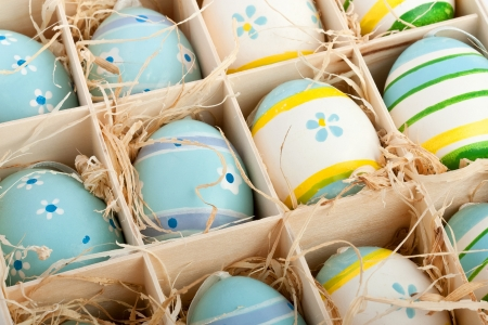 closeup of assorted colorful painted easter eggs in a wodden box Stock Photo - 17164517