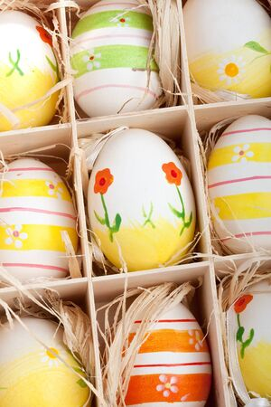 closeup of assorted colorful painted easter eggs in a wodden box Stock Photo - 17164518