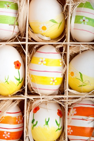 closeup of assorted colorful painted easter eggs in a wodden box Stock Photo - 17164530