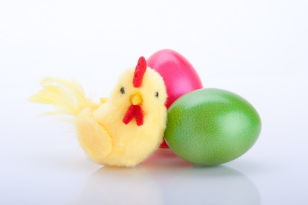 closeup of yellow chicken with colorful Easter eggs isolated on white background