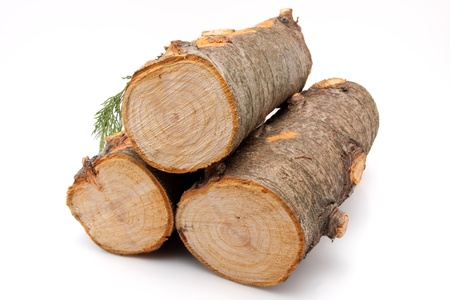 closeup of a stack of firewood isolated on white background Stock Photo - 17285184