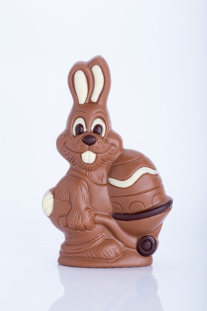 Easter bunny made of chocolate with easter egg isolated on a white background