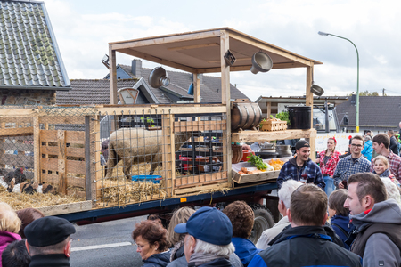 Thanksgiving parade in M�tzenich, Eifel, Germany, OCTOBER 2, 2016 - People and local farmers celebrate the date with a street parade.