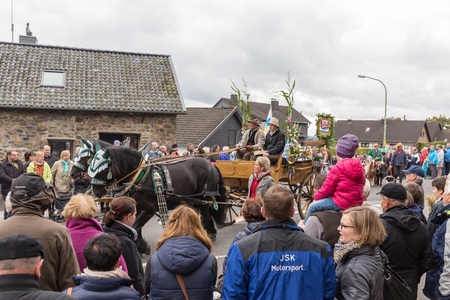 Thanksgiving parade in Mützenich, Eifel, Germany, OCTOBER 2, 2016 - People and local farmers celebrate the date with a street parade. Editorial