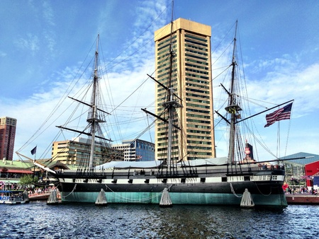 The U.S.S. Constellation, with the World Trade Center in the background, at Baltimores Inner Harbor.