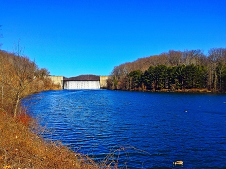 Loch Raven Reservoir and Dam in Baltimore County, Maryland.