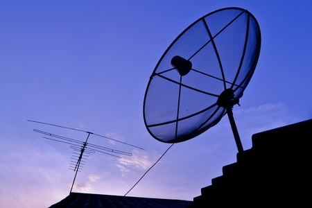 Satellite Dish and Antenna TV on Sunset Time photo