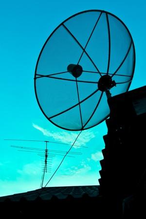 Satellite Dish and Antenna TV on Sunset Time photo