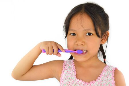 cute asian girl and toothbrush of thailand southeast asia Stock Photo