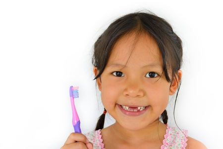 decayed: cute asian girl and toothbrush of thailand southeast asia Stock Photo